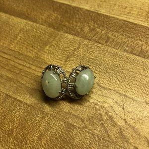 Jade & silver earrings